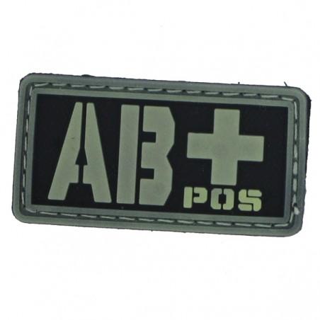 Patch PVC groupe sanguin AB+ fond noir olive
