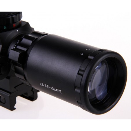 3.5-10x40 Rifle Scope With Red Laser Light SPIKE [Black Eagle Corporation]
