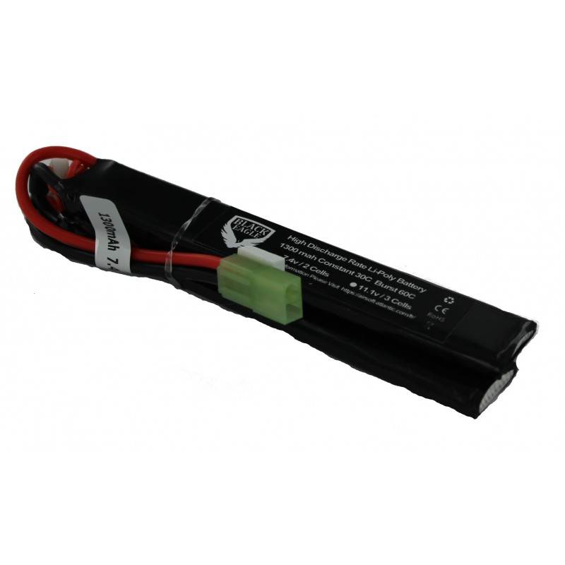 1300mah 7.4V 30C lipo battery nunchuck type with small taniya