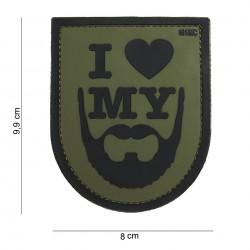 Patch 3D PVC : I love my beard green