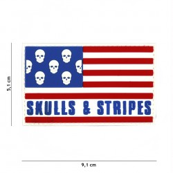 Patch 3D PVC Skull & stripes big skull No5133