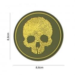 Patch 3D PVC fingerprint skull yellow No5118