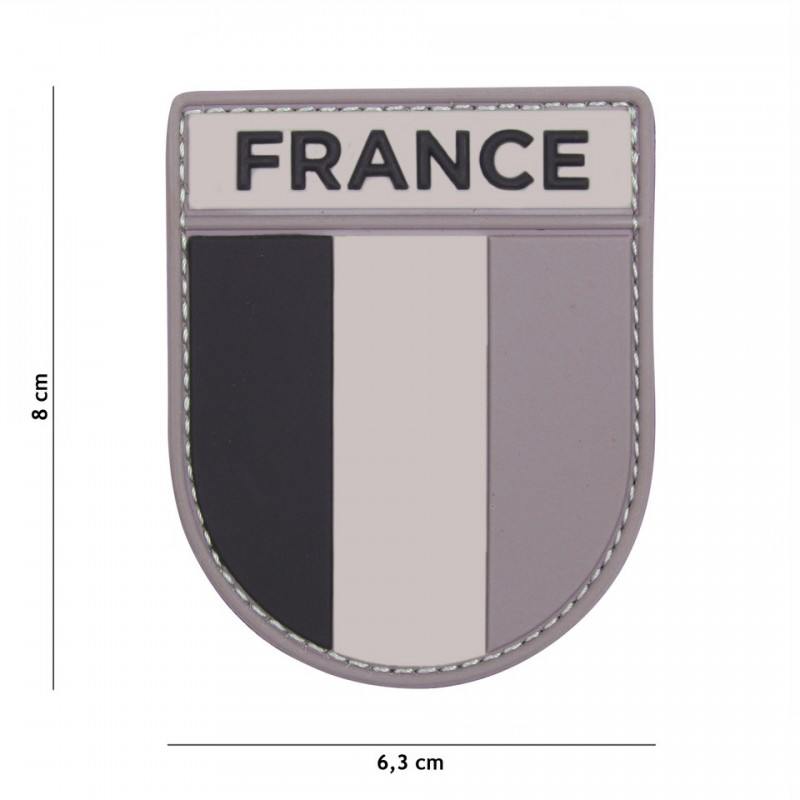 Patch 3D PVC French army grey/black