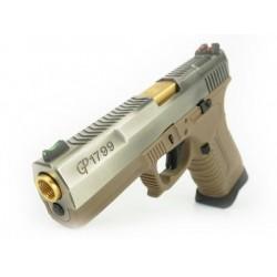 GP1799 T4 - GBB, metal silver slide, TAN frame, gold barrel