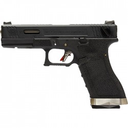 G18C Gen4 T5, metal slide, silver barrel, GBB, black