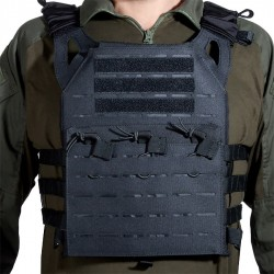 GILET PLATE CARRIER COUPE AU LASER NOIR DELTA TACTICS V18 + 2 PLAQUES DE PROTECTION DUMMY