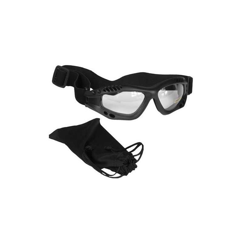Glasses AIR COMMANDO Mil-Tec BLACK clear