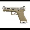 R17 (G001WET-8) Gen4 T8, metal slide, silver barrel, GBB, TAN