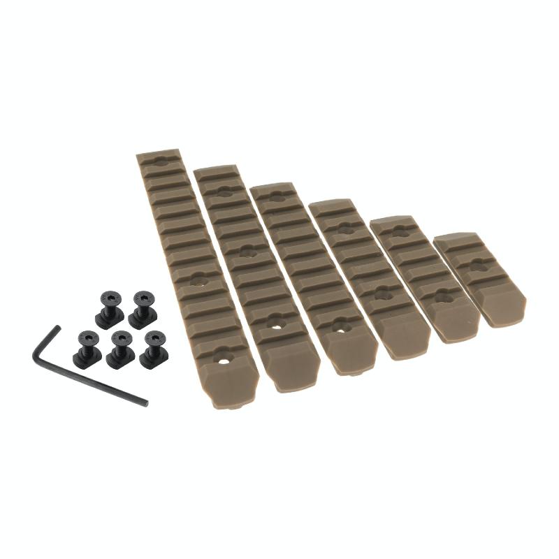 JJ airsoft M-LOK Polymer Rail Set 6-PC Pack (Tan)